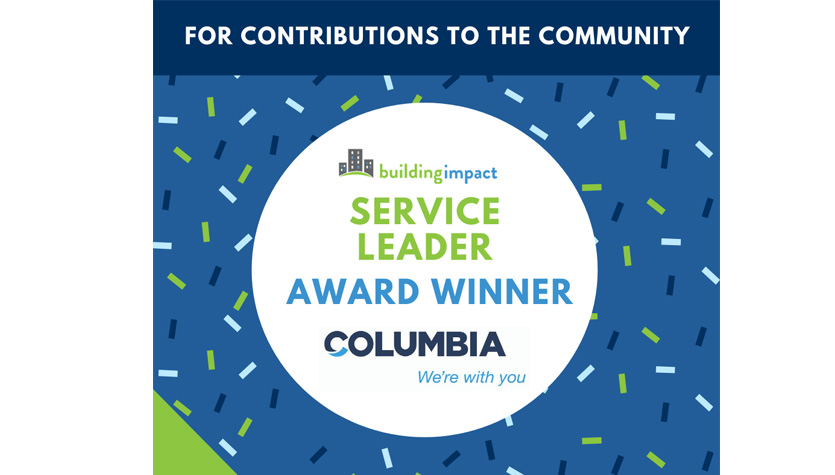 Columbia Honored with Service Leader Impact Award From Building Impact