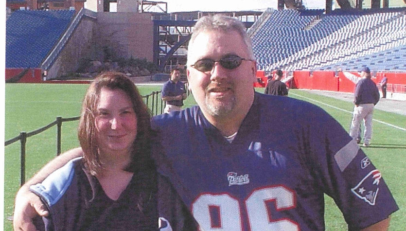 Heidi and I on Gillette Stadium field.jpg
